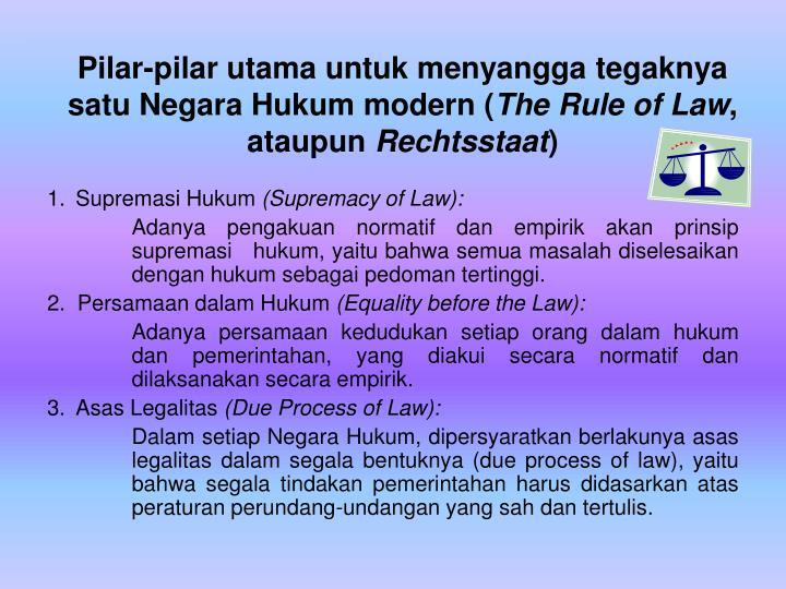 Pilar-pilar utama untuk menyangga tegaknya satu Negara Hukum modern (