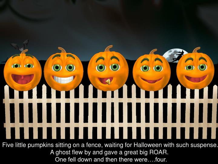 Five little pumpkins sitting on a fence, waiting for Halloween with such suspense.