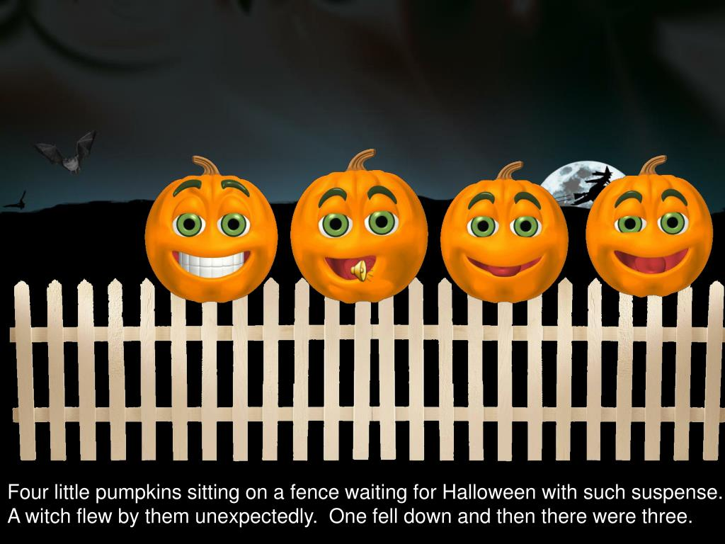 Four little pumpkins sitting on a fence waiting for Halloween with such suspense.