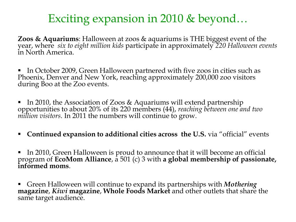 Exciting expansion in 2010 & beyond…