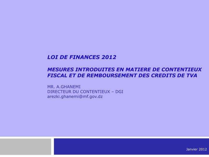 LOI DE FINANCES 2012
