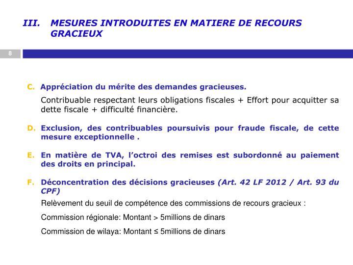 MESURES INTRODUITES EN MATIERE DE RECOURS GRACIEUX