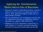 applying the stoichiometric matrix idea to sets of reactions