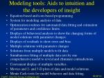 modeling tools aids to intuition and the developers of insight