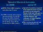 spread of electrical activation in lbbb and in vf