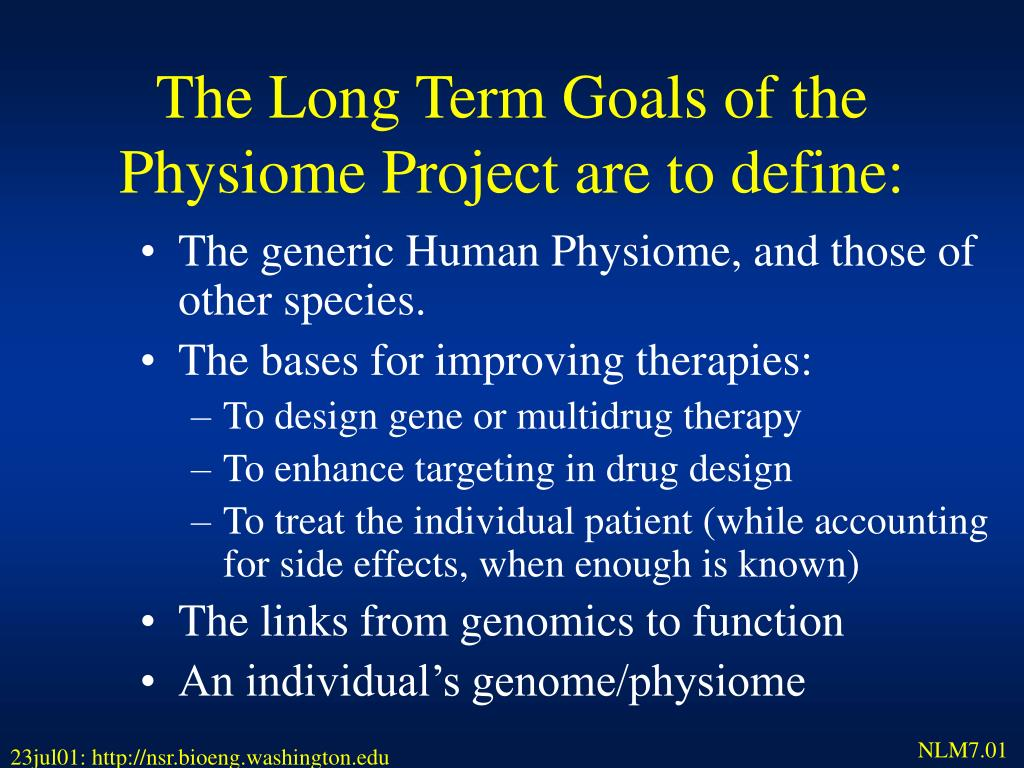 The Long Term Goals of the                           Physiome Project are to define: