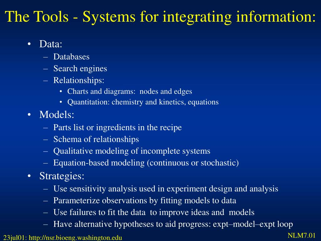 The Tools - Systems for integrating information: