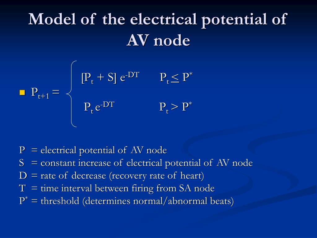Model of the electrical potential of AV node