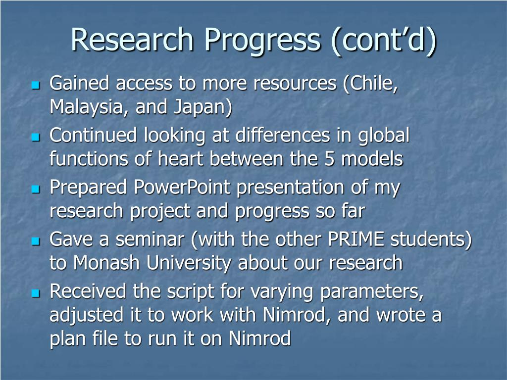 Research Progress (cont'd)