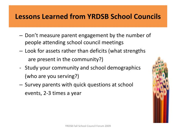 Lessons Learned from YRDSB School Councils