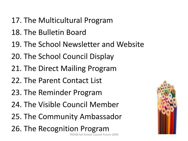 17. The Multicultural Program