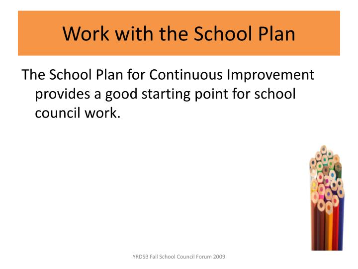 Work with the School Plan