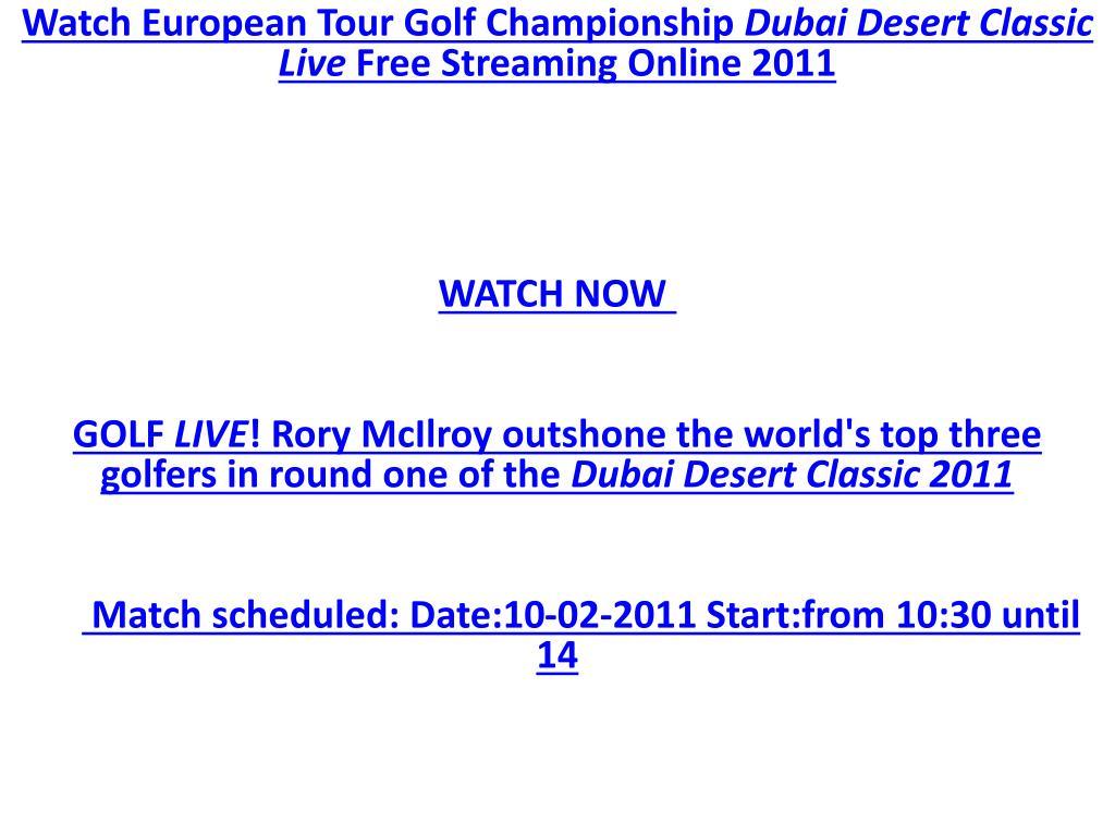 Watch European Tour Golf Championship