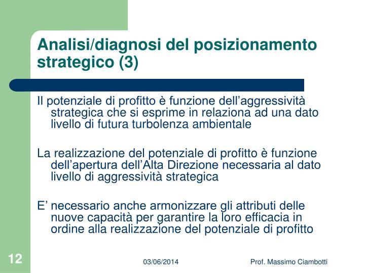 Analisi/diagnosi del posizionamento strategico (3)