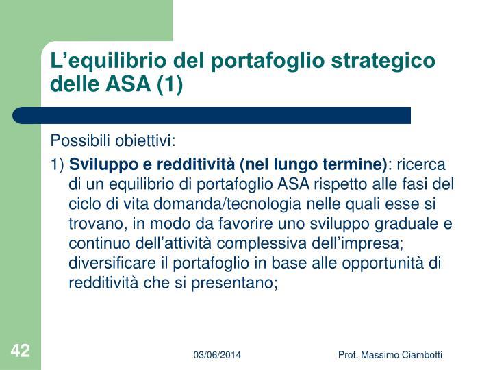 L'equilibrio del portafoglio strategico delle ASA (1)