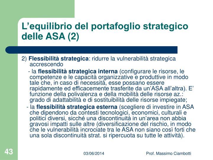 L'equilibrio del portafoglio strategico delle ASA (2)