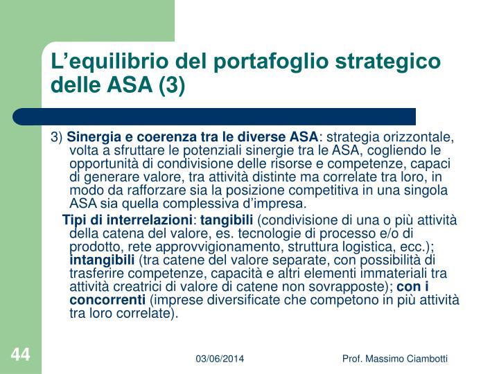 L'equilibrio del portafoglio strategico delle ASA (3)