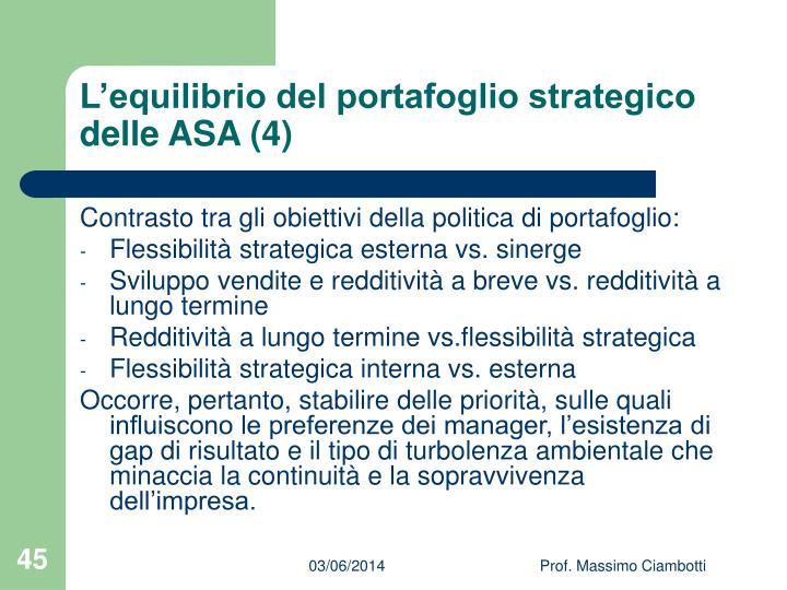 L'equilibrio del portafoglio strategico delle ASA (4)