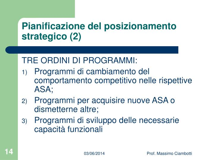Pianificazione del posizionamento strategico (2)