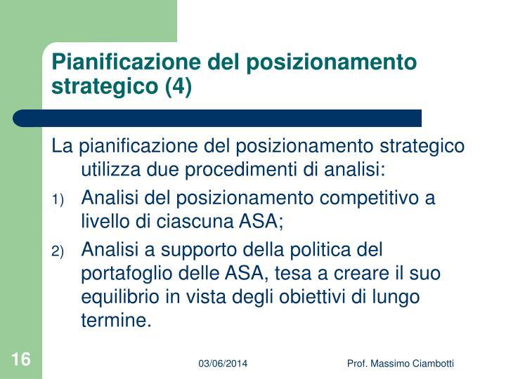 Pianificazione del posizionamento strategico (4)