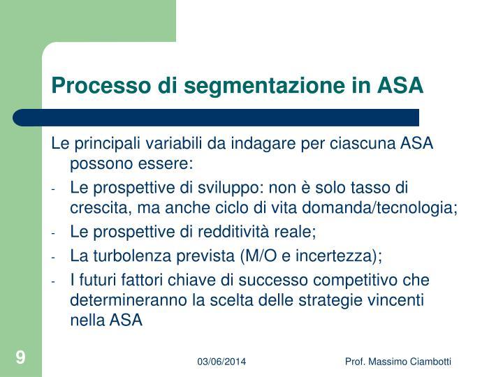 Processo di segmentazione in ASA