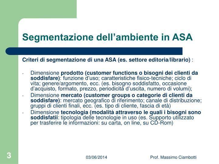 Segmentazione dell'ambiente in ASA