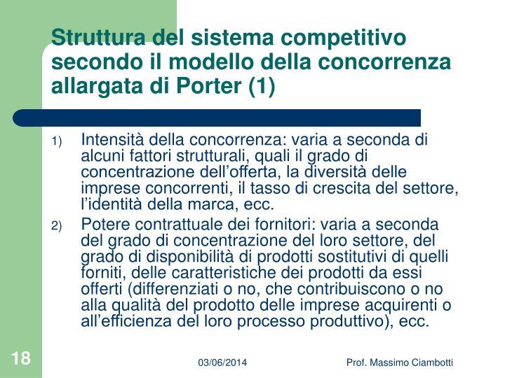 Struttura del sistema competitivo secondo il modello della concorrenza allargata di Porter (1)