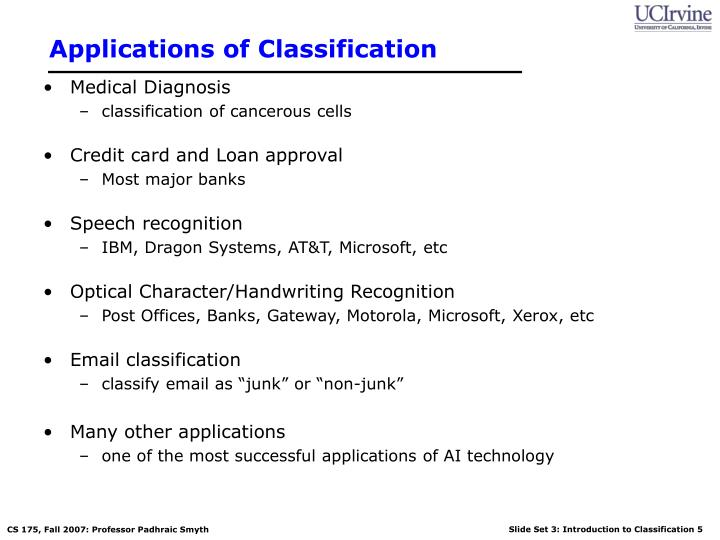 Applications of Classification