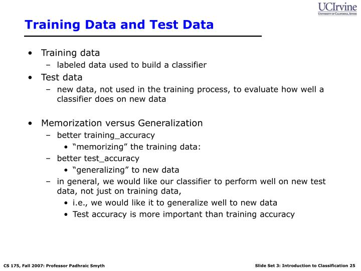 Training Data and Test Data