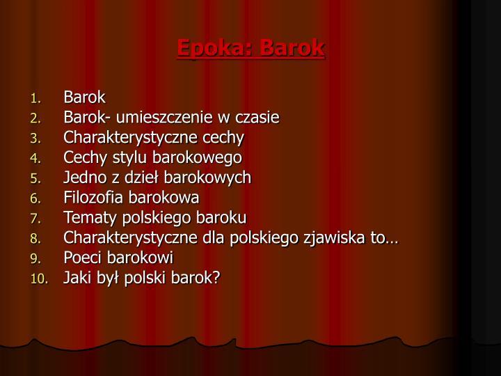 Epoka: Barok