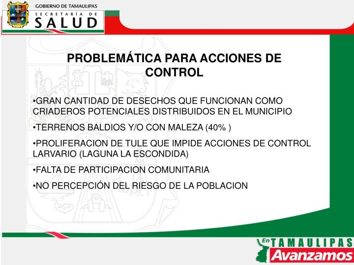 PROBLEMÁTICA PARA ACCIONES DE CONTROL