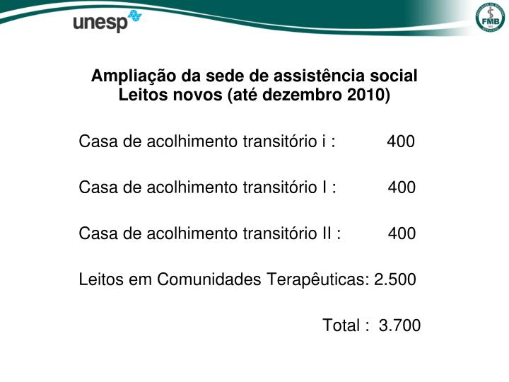 Ampliação da sede de assistência social