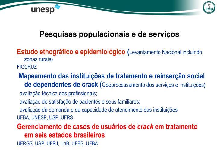 Pesquisas populacionais e de serviços