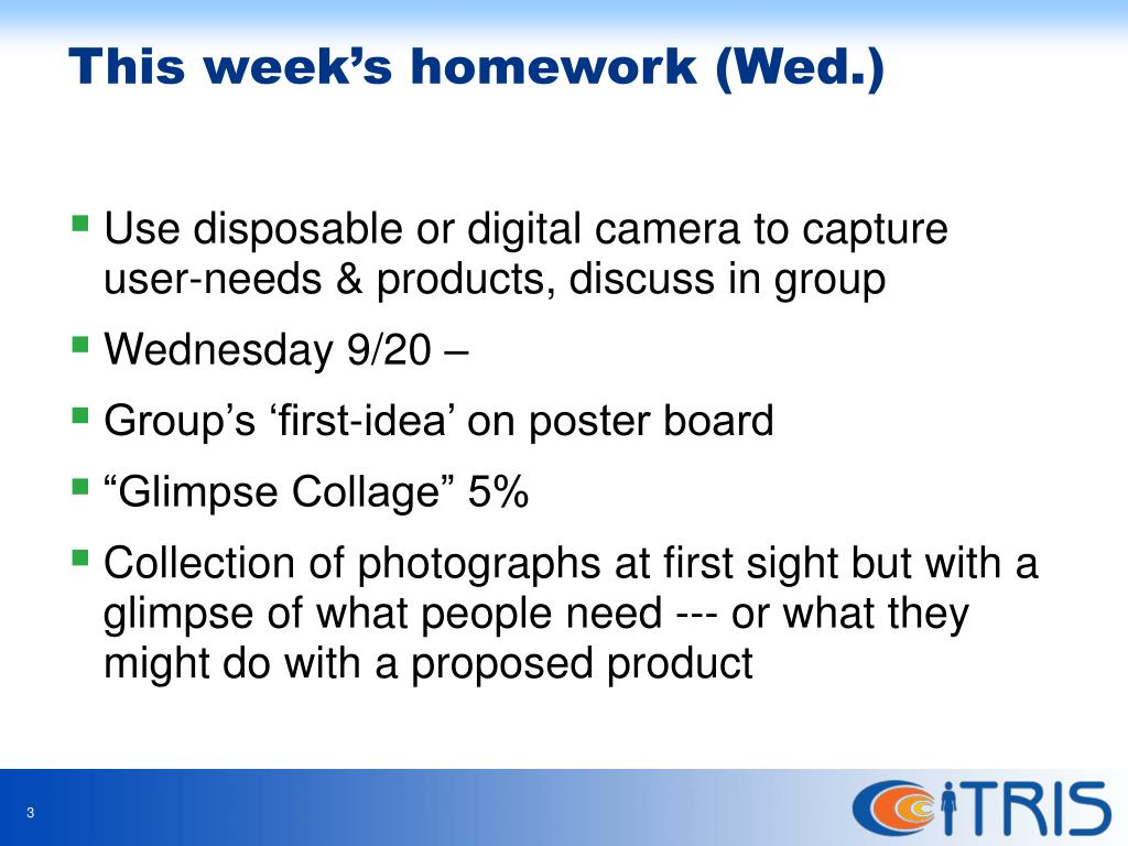Use disposable or digital camera to capture user-needs & products, discuss in group