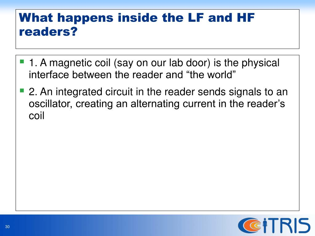 """1. A magnetic coil (say on our lab door) is the physical interface between the reader and """"the world"""""""