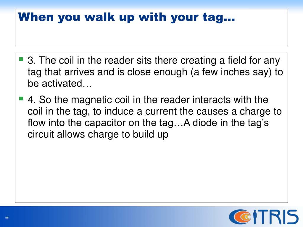 3. The coil in the reader sits there creating a field for any tag that arrives and is close enough (a few inches say) to be activated…