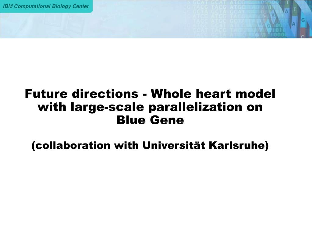 Future directions - Whole heart model with large-scale parallelization on Blue Gene