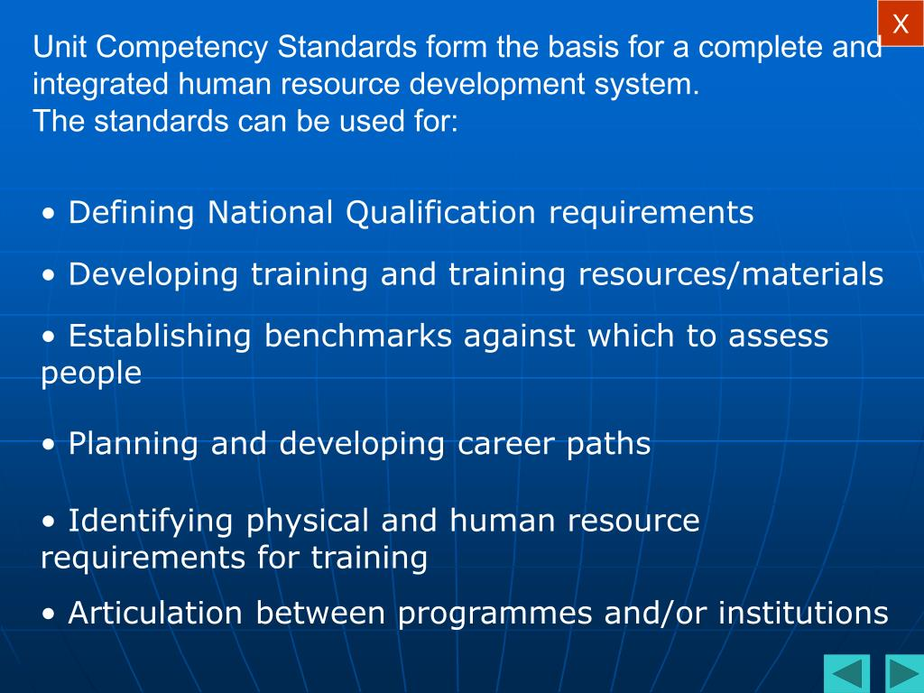 Unit Competency Standards form the basis for a complete and integrated human resource development system.