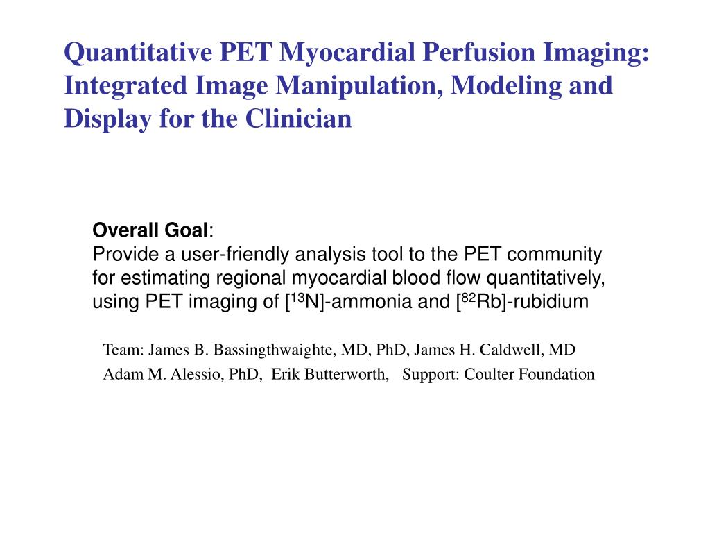Quantitative PET Myocardial Perfusion Imaging: Integrated Image Manipulation, Modeling and Display for the Clinician