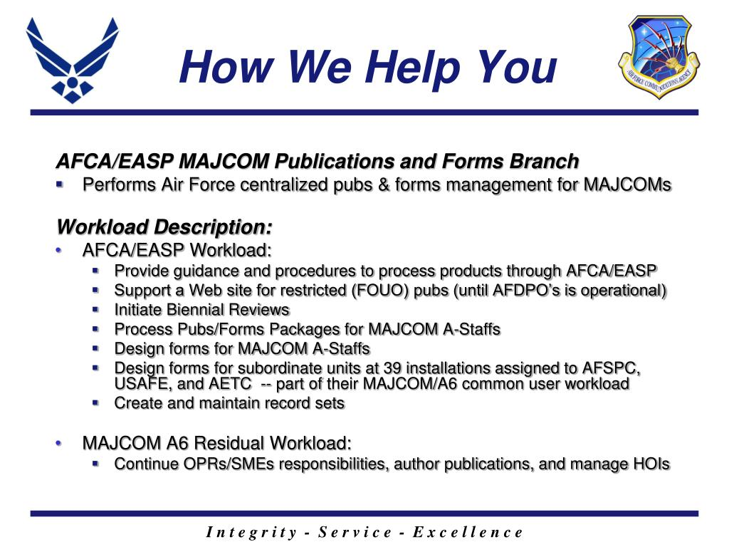 AFCA/EASP MAJCOM Publications and Forms Branch