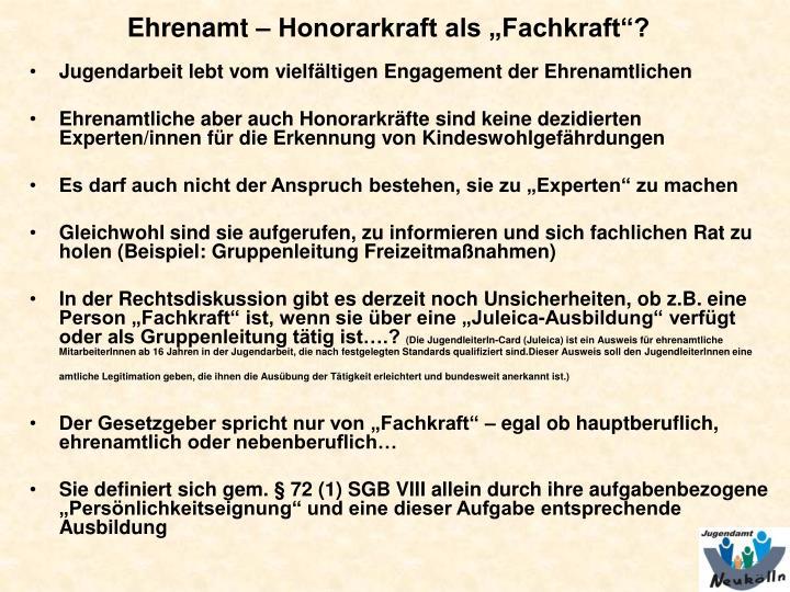 """Ehrenamt – Honorarkraft als """"Fachkraft""""?"""