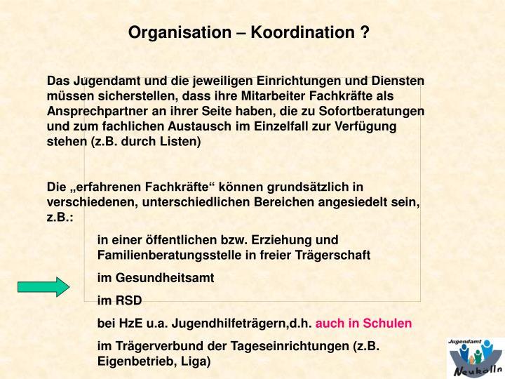 Organisation – Koordination ?