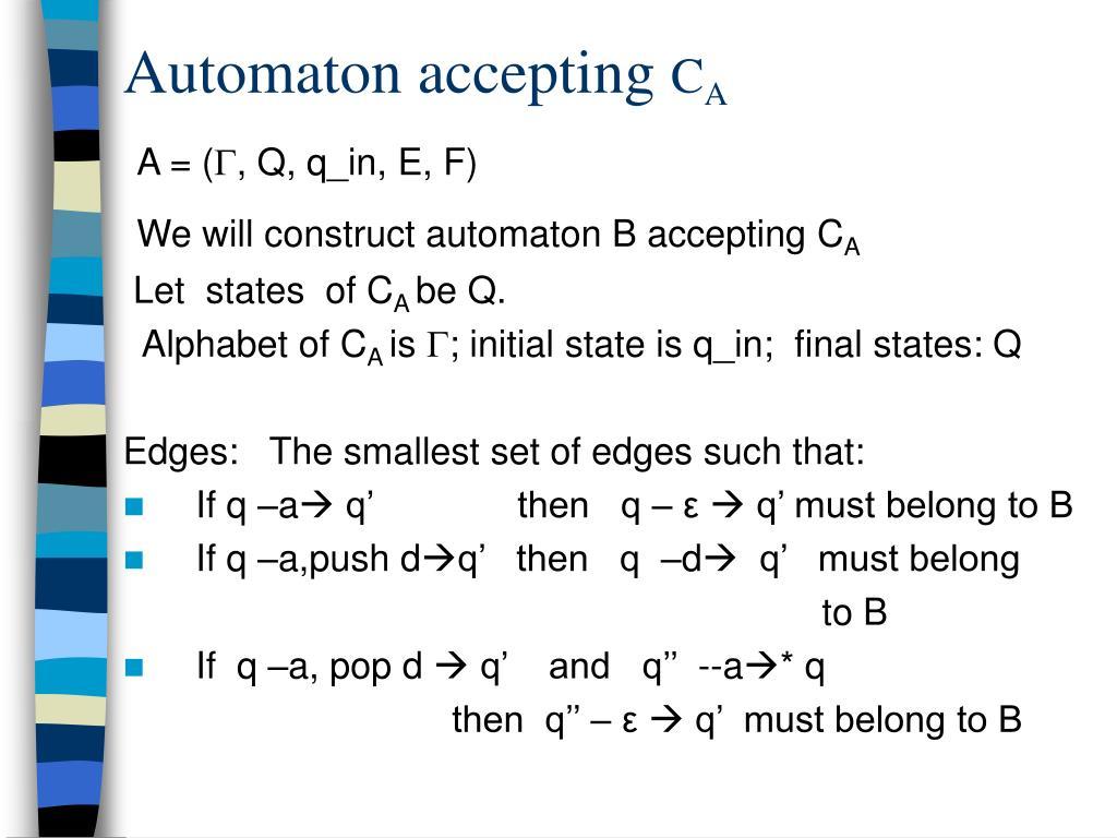 Automaton accepting