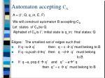 automaton accepting c a
