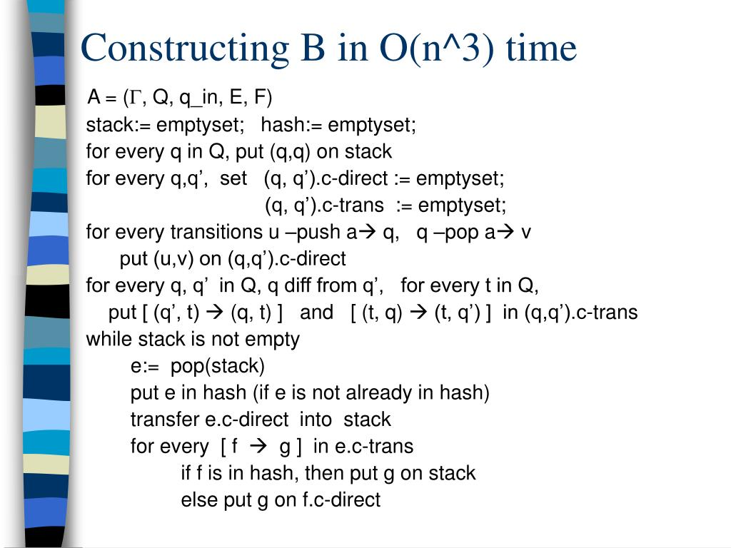 Constructing B in O(n^3) time
