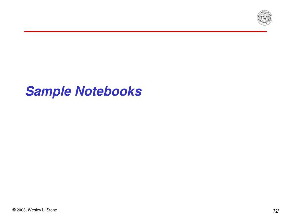 Sample Notebooks