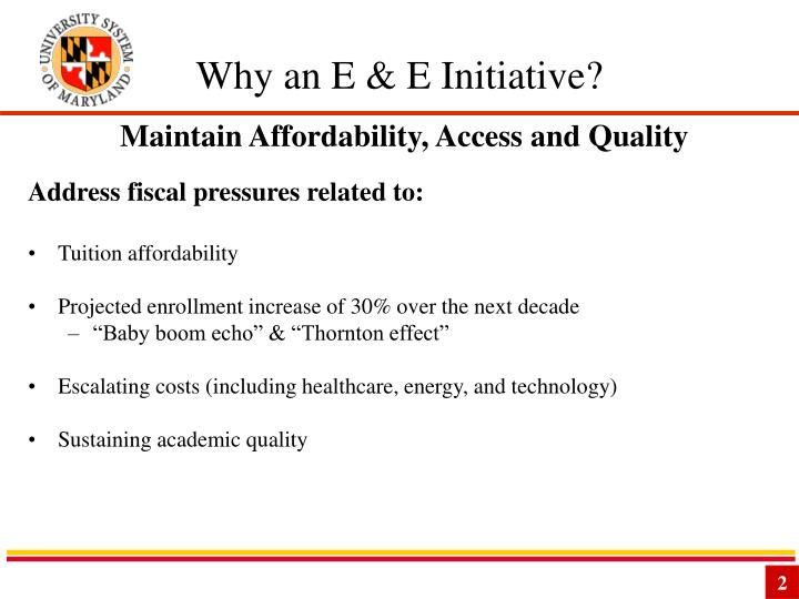 Why an e e initiative