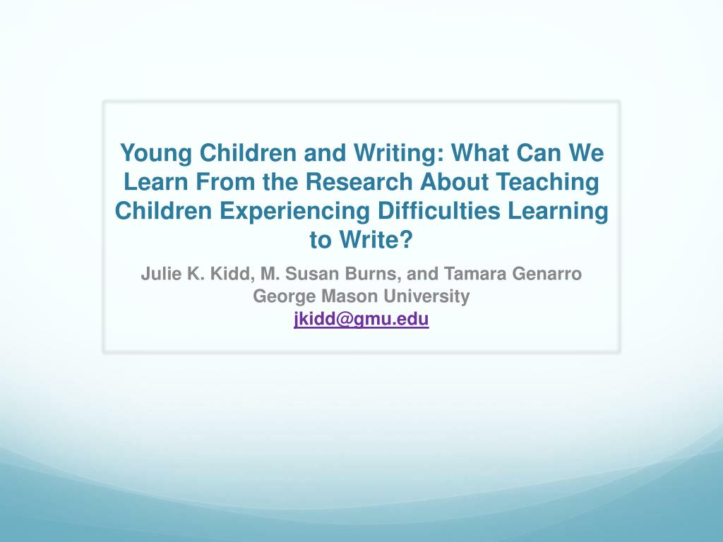 Young Children and Writing: What Can We Learn From the Research About Teaching Children Experiencing Difficulties Learning to Write?