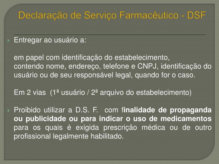 Declaração de Serviço Farmacêutico - DSF