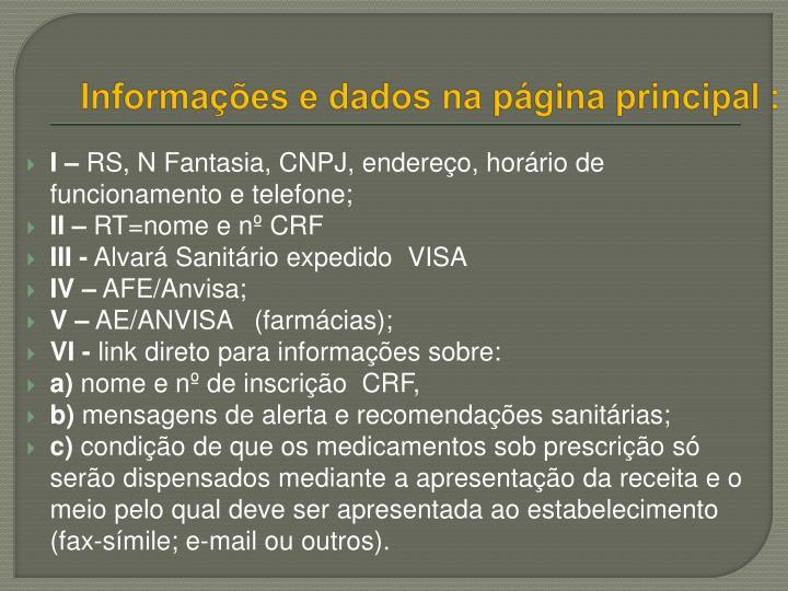 Informações e dados na página principal :